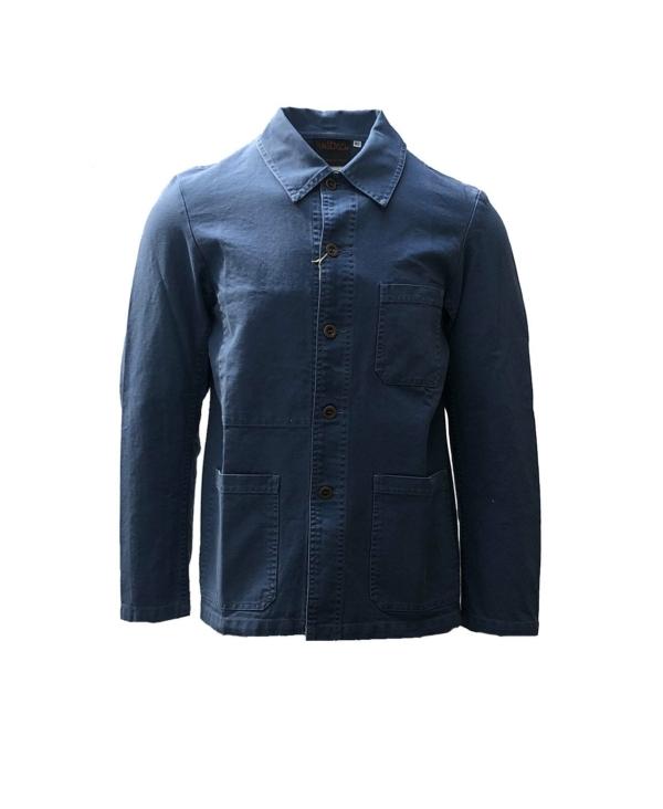 vetra french workman jacket in tungsten blue cotton moleskin